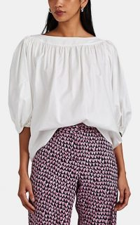 LISA PERRY Gathered Cotton Poplin Blouse in White