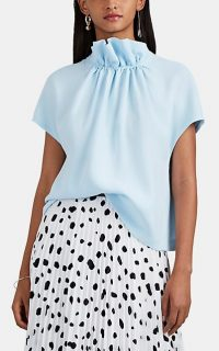 LISA PERRY Silk Crepe Flyaway Blouse in Light-Blue ~ chic gathered high neck blouses