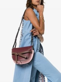 Loewe Gate Shoulder Bag in Burgundy and Pink Leather