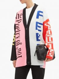 MSGM Logo-intarsia cardigan ~ multicoloured drop shoulder cardi