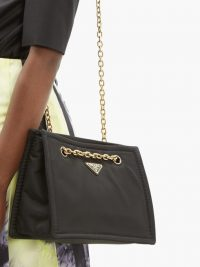 PRADA Logo-plaque black nylon shoulder bag ~ gold-tone chain strap bags