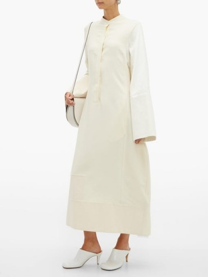JIL SANDER Lorelai canvas-patch shirtdress in cream | contemporary shirt dress
