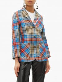 CHARLES JEFFREY LOVERBOY Loverboy single-breasted tartan-wool jacket in blue ~ vibrant and bold checks