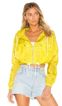 Lovers + Friends Bonnie Jacket Neon Yellow | bright hooded bomber