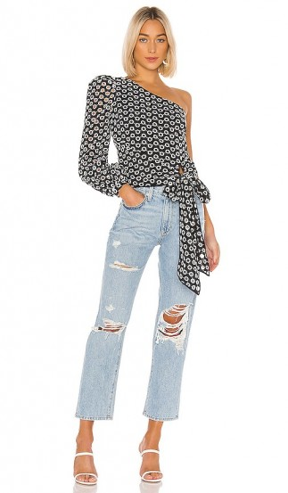 Lovers + Friends Kendall Blouse Black & White – one shoulder with waist tie