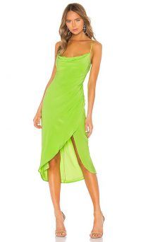 Lovers + Friends Noah Wrap Dress Lime Green | strappy cowl neckline dresses