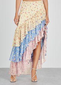 LOVESHACKFANCY Lisette floral-print ruffled silk skirt / multi-tiered skirts