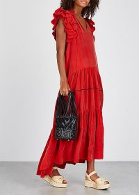 LUG VON SIGA Frida red ruffled midi dress | tiered summer dresses