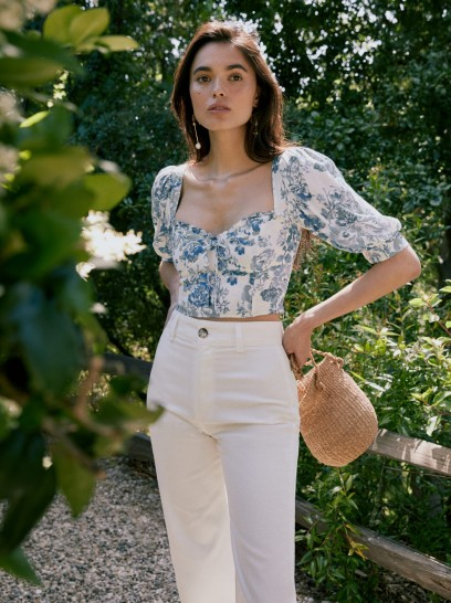 REFORMATION Luna Top Olympia / floral crop tops