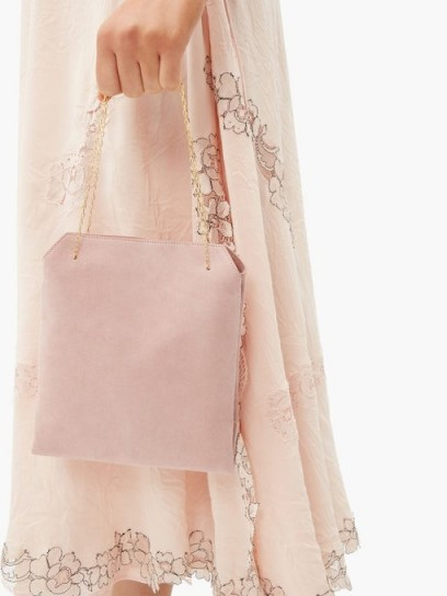 THE ROW Lunch Bag pink suede clutch ~ luxe chain handle bag
