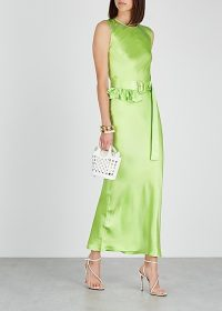 MAGGIE MARILYN Take A Bite green belted silk maxi dress ~ summer event wear