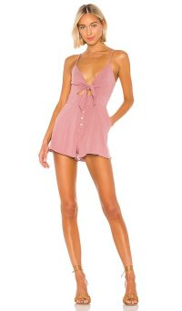 MAJORELLE Andrea Romper Mauve – thin straps with front tie detail