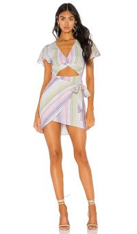 MAJORELLE Evelyn Dress Pastel Multi | summer evening dresses | cut-out / wrap style fashion