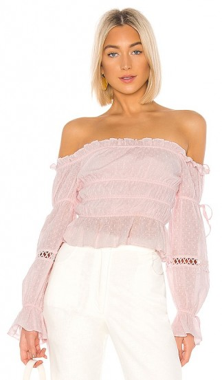 MAJORELLE Harrison Top Baby Pink – frill trimmed off the shoulder