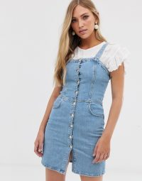 Mango button front denim dress in light blue – summer pinafore