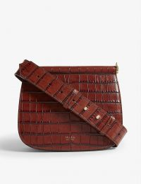 MAX MARA Sylvia leather cross-body bag in rust | brown croc-embossed bags
