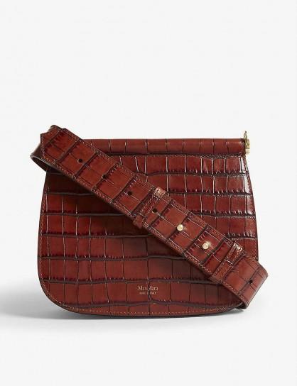 MAX MARA Sylvia leather cross-body bag in rust | brown croc-embossed bags