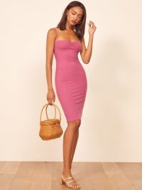 REFORMATION Mena Dress in Azalea ~ pink ribbed and ruched