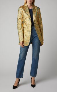 Victoria Beckham Metallic Jacquard Blazer in Gold