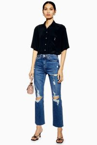 Topshop Mid Blue Destroy Rip Straight Jeans | ripped denim