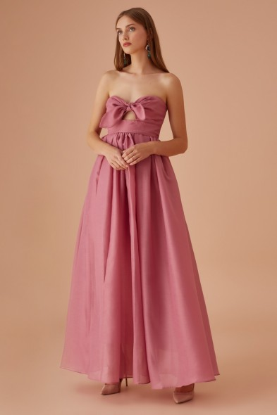 KEEPSAKE MIDNIGHT GOWN MULBERRY – strapless front tie gowns