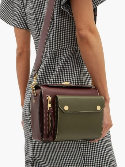 ALEXANDER MCQUEEN Military two-tone leather box bag in burgundy and khaki-green