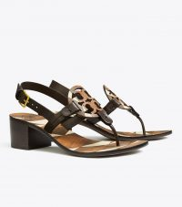 TORY BURCH MILLER ANKLE-STRAP SANDAL in Brown / Ivory Stacked Cuoio / Coconut