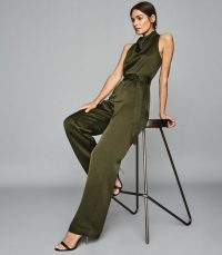 Reiss MILO BELTED JUMPSUIT KHAKI | party glamour