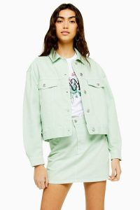 Topshop Mint Boxy Denim Jacket   pale-green summer jackets