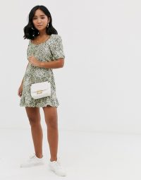 Miss Selfridge Petite tea dress in ditsy animal print