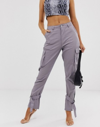Missguided cargo trousers with tie cuff detail in grey