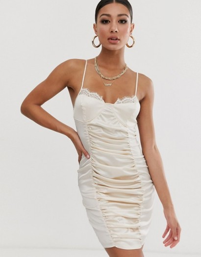 Missguided satin ruched mini dress in champagne – luxe style going out dresses