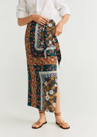 MANGO Mixed print skirt – long wrap style skirts