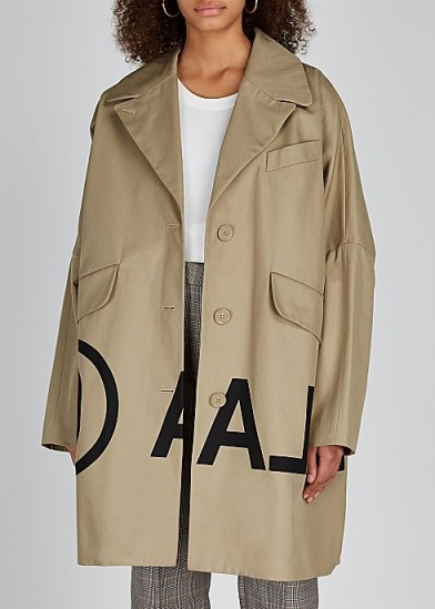 MM6 BY MAISON MARGIELA Sand printed cotton twill coat ~ stylish logo print coats