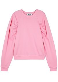 MSGM Pink ruched cotton sweatshirt ~ gathered sleeve sweat top