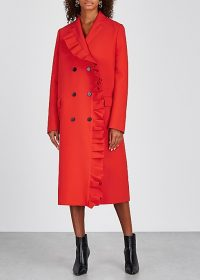 MSGM Red ruffle-trimmed stretch-cady coat | bold statement coats