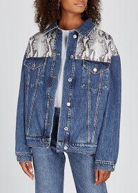 MSGM Snake-effect panelled denim jacket | reptile panel jackets