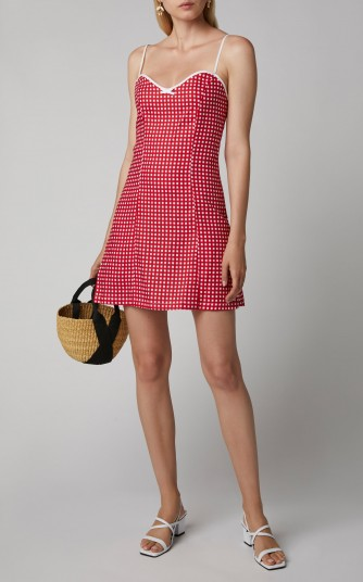 Miguelina Nadine Gingham Linen Mini Dress in Plaid ~ sweet skinny strap summer dresses