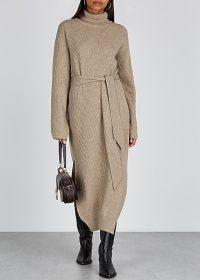 NANUSHKA Canaan taupe wool-blend dress ~ effortlessly stylish knitwear