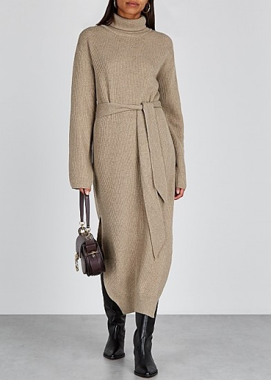 NANUSHKA Canaan taupe wool-blend dress ~ effortlessly stylish knitwear