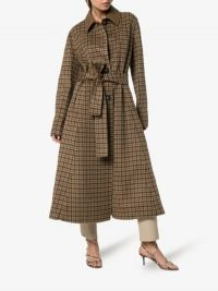 Nanushka Sira Belted Check Coat in Brown