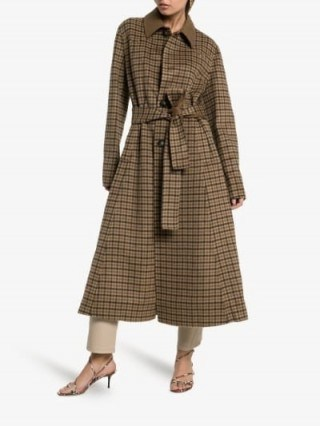Nanushka Sira Belted Check Coat in Brown - flipped