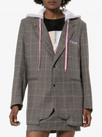 Natasha Zinko Hooded Check Blazer in Grey