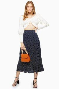 Topshop Navy Spot Tiered Midaxi Skirt