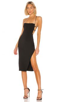 NBD Becky Midi Dress Black – strappy back tie-up with thigh high split