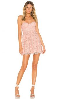 NBD Juliette Mini Dress Sorbet Pink | strapless lace fit and flare