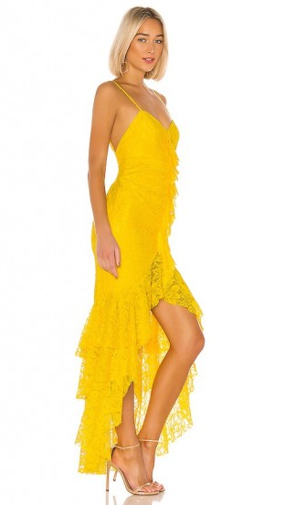 NBD Rosaleen Gown Bright Yellow – skinny shoulder straps and tiered ruffles