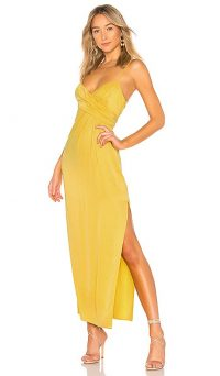 NBD Saanvi Gown Mustard Yellow | skinny strap side slit evening dresses