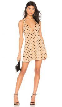 NBD x Naven Macie Dress Nude Polka Dot – plunge front neckline