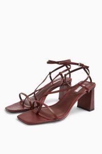 TOPSHOP NICO Burgundy Set Back Heels / strappy summer sandals